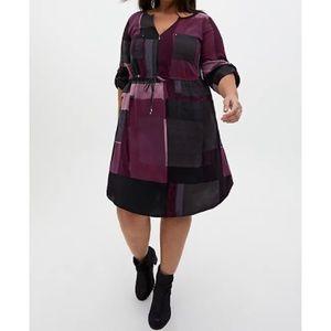 🆕 Purple Geo Block Challis Zip Shirt Dress 2X 18